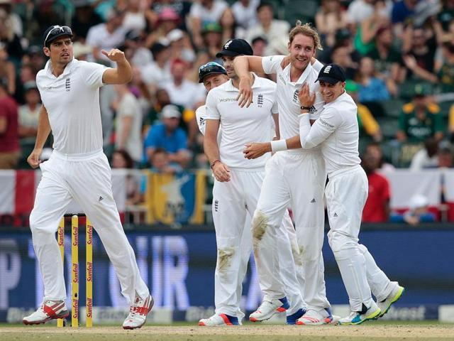 England's bowler Stuart Broad acknowledges the crowd and the teammates at the end of their innings for taking 6 wickets.