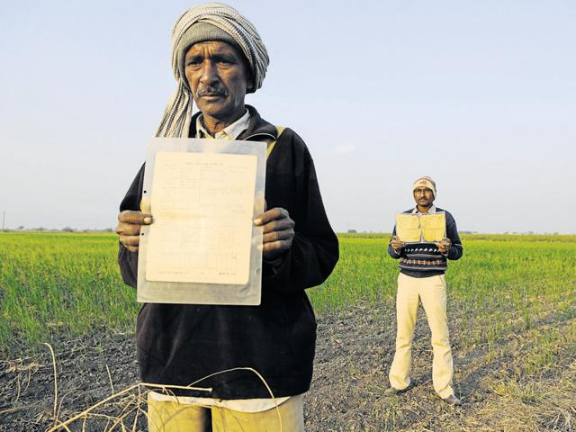 Farmers such as Faljibhai Nagjibhai Bauliya (right) and his brother Laxmanbhai of Haibatpur village fear being dispossessed of their land because of the discrepancy in the records. Here, they are pictured holding up documents that prove the land belonged to their father; (below) Farmers whose fields are the site for the Dholera international airport.(Saumya Khandelwal/ HT Photo)