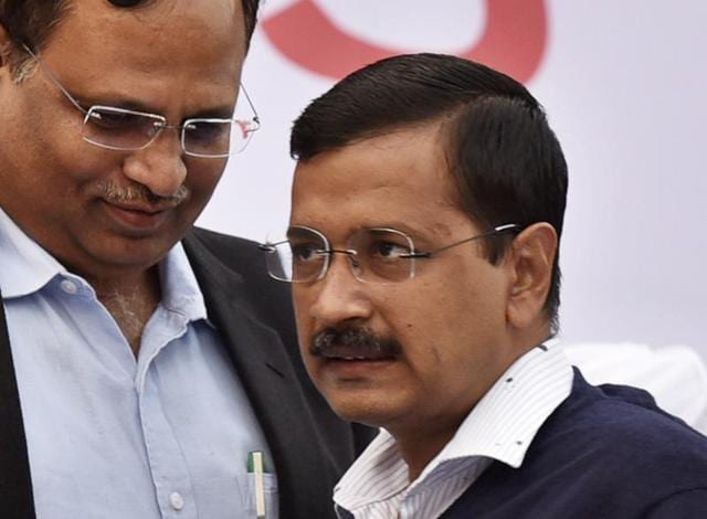 A woman threw ink on Chief Minister Arvind Kejriwal (Not in Picture) during the thanks giving event of odd-even scheme at Chhatrasal stadium in Delhi, India, 17 January, 2015 on Sunday.