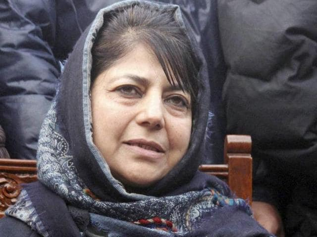 File photo of People's Democratic Party (PDP) President and MP Mehbooba Mufti with Sports Minister Imran Raza Ansari (Centre) and Floriculture, Gardens and Parks Minister Altaf Bukhari (Right) at a public meeting at Sher-e-Kashmir park in Srinagar.
