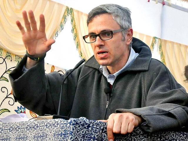 File photo of former Jammu and Kashmir chief minister Omar Abdullah addressing a rally at Kulgam district of south Kashmir.