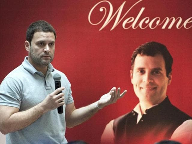 Congress Vice President Rahul Gandhi interacts with students at IMS in Mumbai on Saturday.