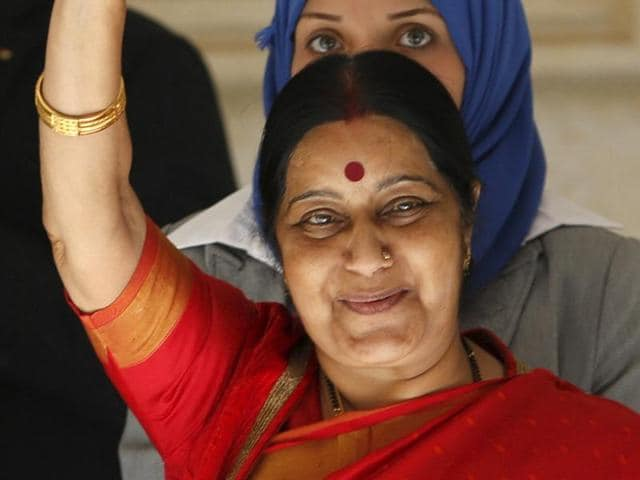 Foreign Minister Sushma Swaraj waves upon her arrival in Ramallah.