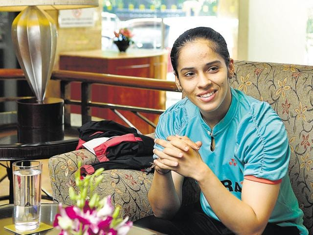 Indian badminton ace Saina Nehwal at her residence in Hyderabad.