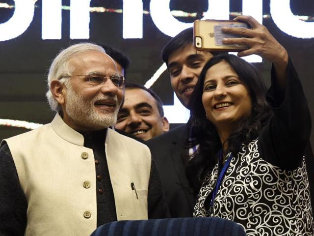Prime minister Narendra Modi (C), finance minister Arun Jaitley (R) and minister of states for independent charge, Nirmala Sethuraman releasing the action plan at the launch of Startup India, Standup India movement at Vigyan Bhavan in New Delhi on Saturday.