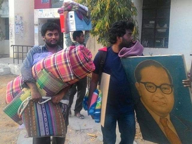 V Rohith (right)  was found hanging in a hostel in central university in Hyderabad.