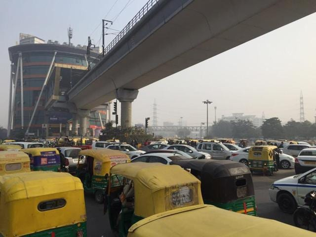 Traffic near Huda City Centre in Gurgaon came to a still on Monday, the first working day after the odd-even formula of vehicle rationing in the NCR ended on Jan 15.