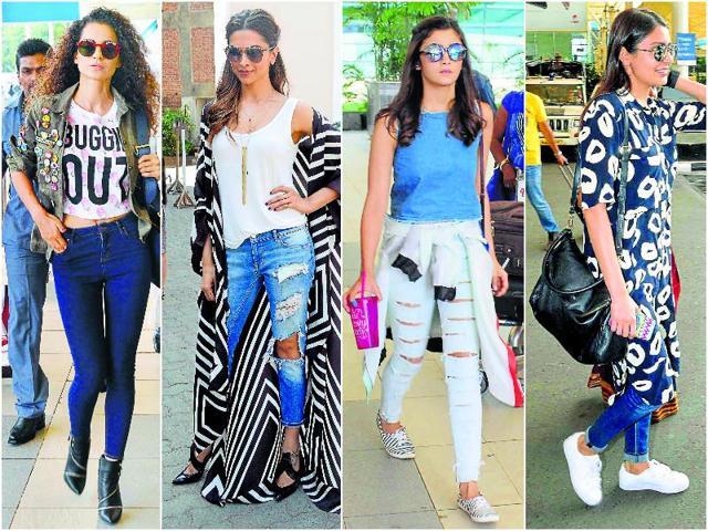 Kangana Ranaut, Deepika Padukone, Alia Bhatt and Anushka Sharma rock the skinny jeans.