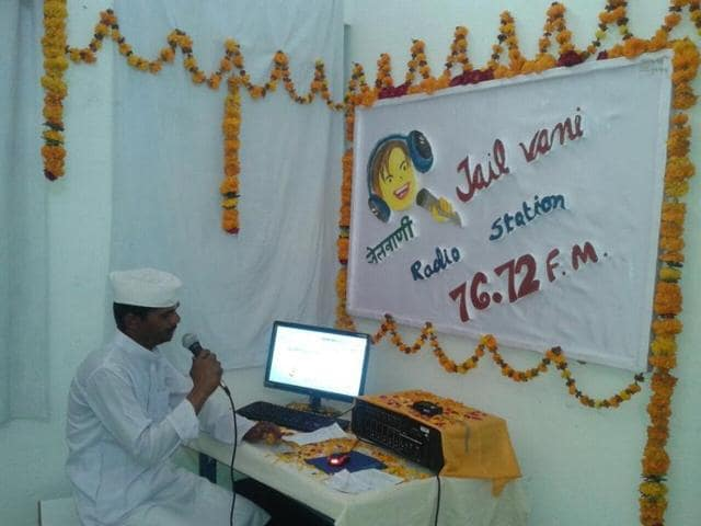 A prisoner in Satna central jail breaks into a song at the prison's radio station.