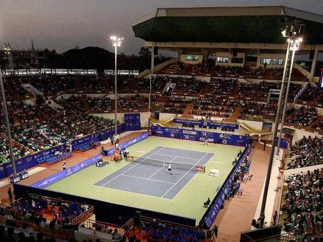 A view of the stadium during final of the ATP Chennai Open 2016 between Stanislas Wawrinka of Switzerland and Borna Coric of Croatia at SDAT Tennis Stadium in Chennai on January 10, 2016.