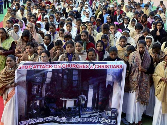 File photo of Christians staging a demonstration to protest against an attack on a church in Madhya Pradesh.