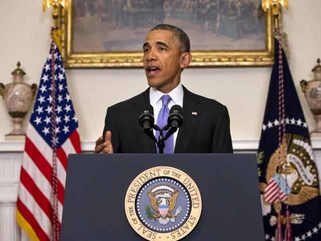 USPresident Barack Obama speaks about the release of Americans by Iran, Sunday, Jan. 17, 2016, in the Cabinet Room of the White House in Washington.