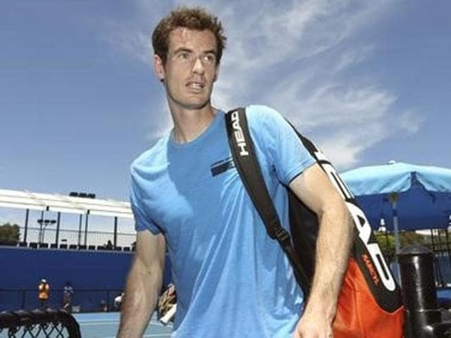 Britain's Andy Murray hits a shot during a practice session at Melbourne Park.