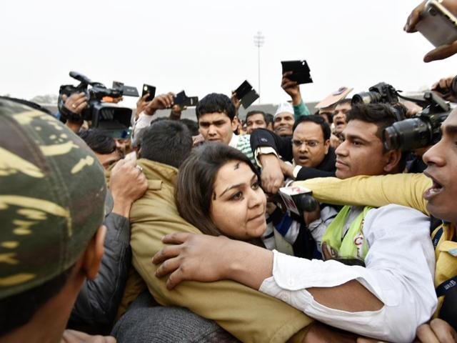 The woman who threw ink at Chief Minister Arvind Kejriwal (not in picture) in Delhi.