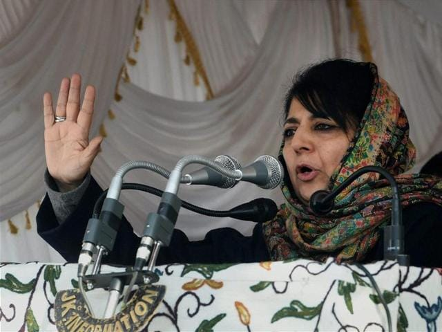 PDP leader Mehbooba Mufti addresses the media at her residence in Srinagar. She is set to be Jammu and Kashmir's first woman chief minister.