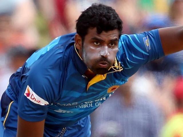 Thisara Perera of Sri Lanka plays a shot during the first Twenty20 cricket match against New Zealand.