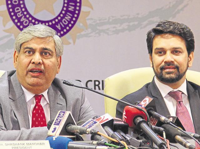 BCCI President Shashank Manohar along with BCCI secretary Anurag Thakur interact with media after the AGM at the BCCI headquarters in Mumbai.