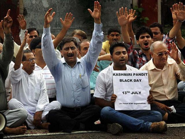 Members of the Joint Forum of Kashmiri Pandits Organization stage a protest in Jammu.