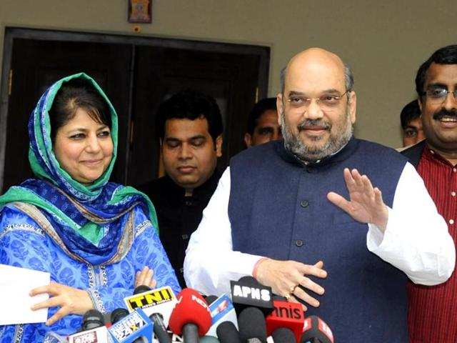 BJP president Amit Shah during a meeting with PDP leader Mehbooba Mufti in New Delhi.