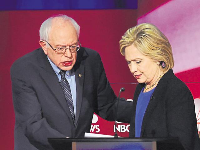 Democratic presidential candidates Bernie Sanders (left) and Hillary Clinton after a party debate in South Carolina on Sunday.