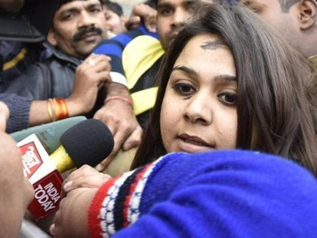 A Delhi court on Tuesday  denied bail to  26-year-old  Bhavna Arora, who threw ink on Chief Minister Arvind Kejriwal on Sunday and sent her  to judicial custody for 14 days