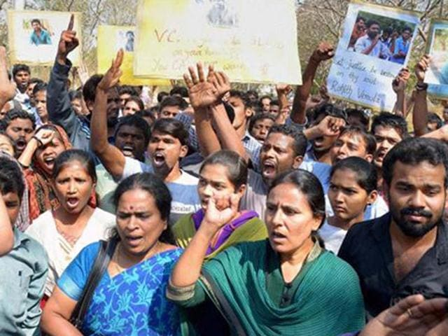 Members of Telangana's Jagruti Yuva Morcha staged a protest outside Union Minister Bandaru Dattatreya's residence in Hyderabad today, demanding justice and compensation of Rs 50 lakhs for a Dalit PhD scholar, Rohith Vemula who was found hanging in Hyderabad university's hostel room on Sunday. Rohith, a resident of Guntur, was pursuing his PhD in society studies from the university. Union Minister for Labour Bandaru Dattatreya has been charged with abetment to suicide.