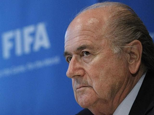 A file photo of former FIFA President Sepp Blatter before a 2014 World Cup match.