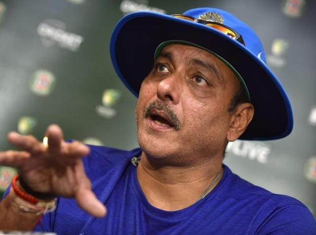 Ravi Shastri, coach of the Indian cricket team, speaks during a press conference at the Manuka Oval.