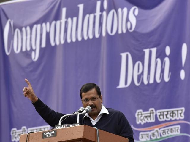 Delhi CM Arvind Kejriwal at a