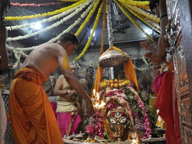 Around 12,000 pilgrims turn up at the Mahakal temple for darshan daily.