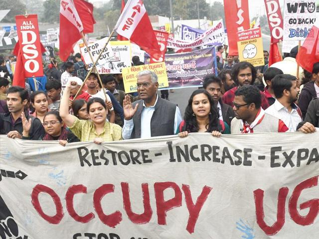 All India Students' Association (AISA) members during their 'Occupy UGC' march against the government policies on higher education in New Delhi.