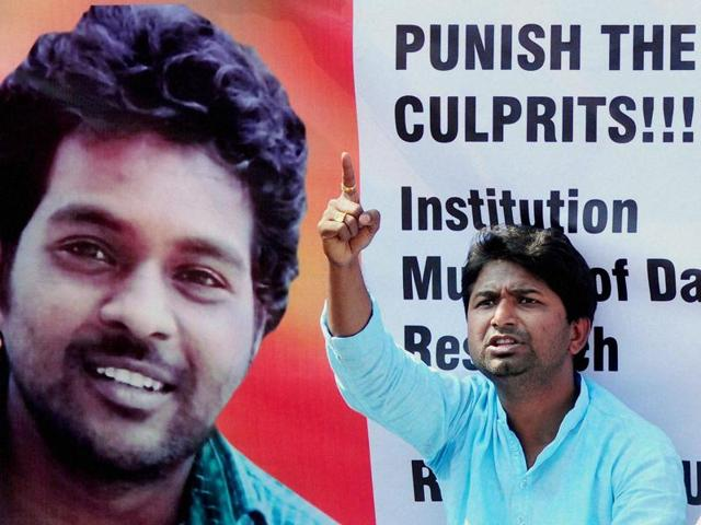 A member of Social Fronts and Students Organisation stages a protest over the death of RohithVemula, a doctorate student at the Hyderabad Central University who was found hanging in the campus hostel room.(PTI Photo)
