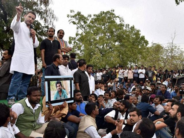 Members of the Students Christian Movement of India and other activists stage a protest in Bengaluru following the suicide of Rohith Vemula, a doctorate student at the Hyderabad Central University.