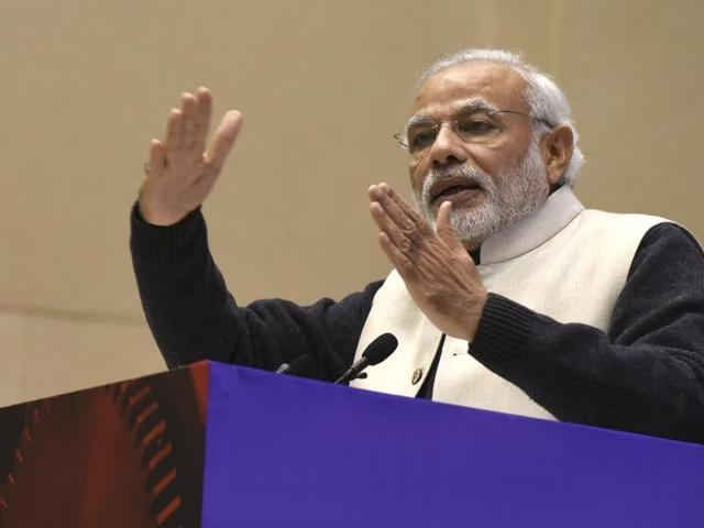 Prime Minister Narendra Modi addresses the gathering at the launch of Startup India at Vigyan Bhavan in New Delhi on  January 16, 2016.