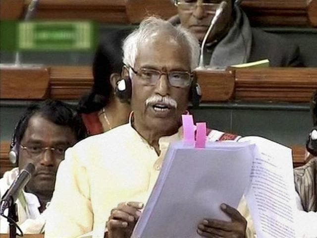MoS Bandaru Dattatreya speaks in the Lok Sabha in New Delhi on Tuesday.