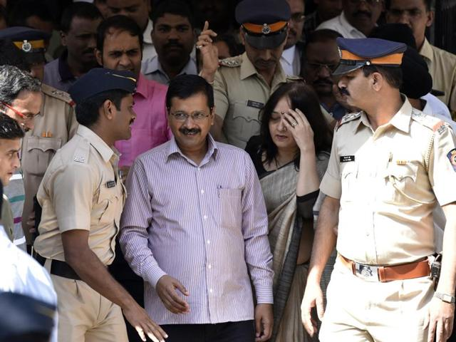 Delhi CM Arvind Kejriwal comes out of the Kurla Metropolitan Magistrate Court after the hearing of a case pertaining to the holding of a rally in Mankhurd allegedly without permission during the 2014 Lok Sabha polls, in Mumbai on Wednesday.
