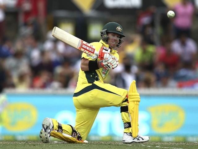 Australia's David Warner plays a shot during the team's ODI match against India in Canberra.