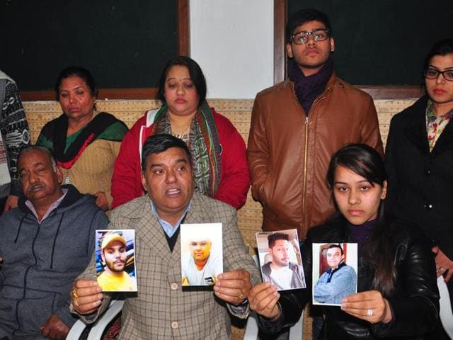Family members of the missing victims during a press conference at the Press Club in Chandigarh on Wednesday.