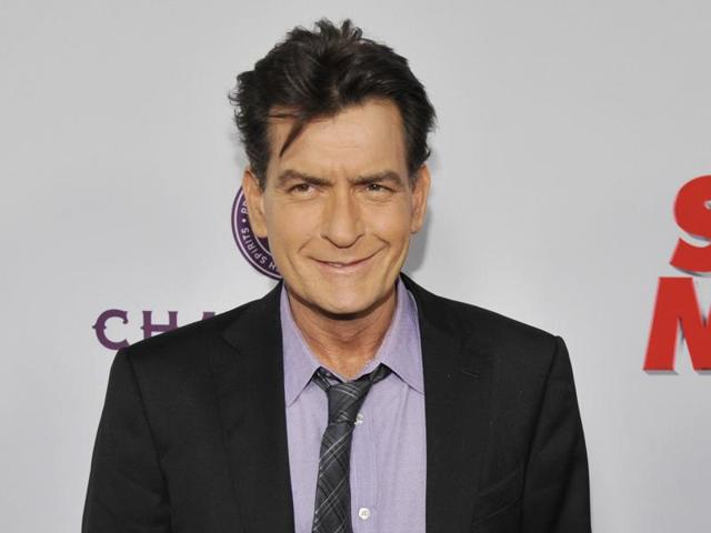 Charlie Sheen poses at the Los Angeles premiere of the film at the Cinerama Dome in Los Angeles.