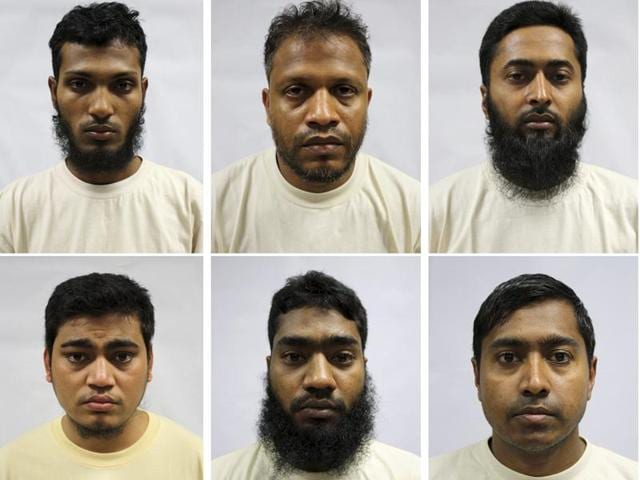 A combination picture of Bangladeshi construction workers who were arrested between November 16 and December 1, 2015 in Singapore for supporting Islamist groups.