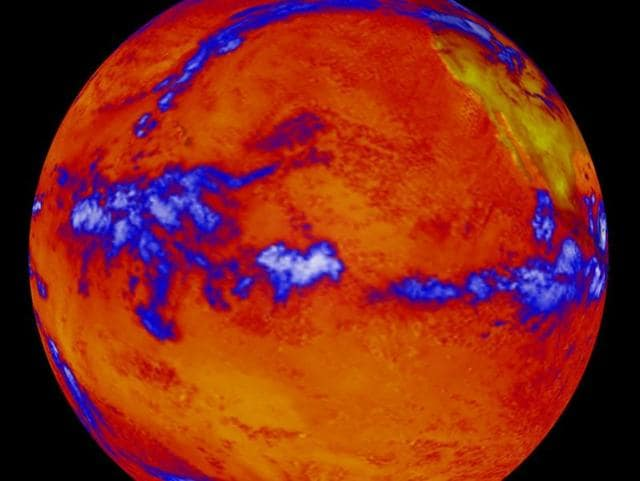 This file photo taken on October 06, 2014 shows heat radiating from the Pacific Ocean as imaged by the NASA's Clouds and the Earth's Radiant Energy System instrument on the Terra satellite.