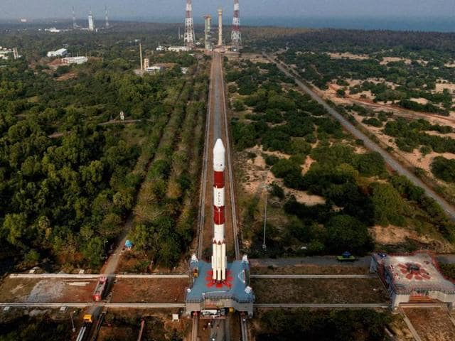 IRNSS-1E, the fifth navigation satellite on board PSLV-C31, in Sriharikota on Tuesday, a day before its launch.