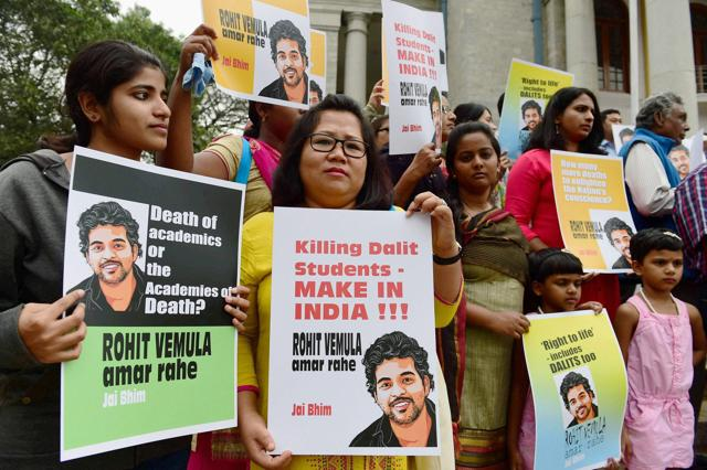 Students organisations in Nagpur take part in a candle march protest over the death of Rohit Vemula.