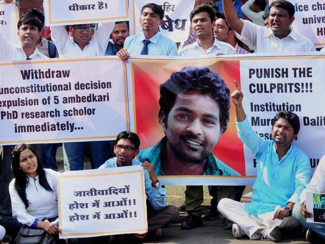 Students of the University of Hyderabad hold a protest demanding justice for Rohith Vemula who committed suicide, allegedly due to social boycott.