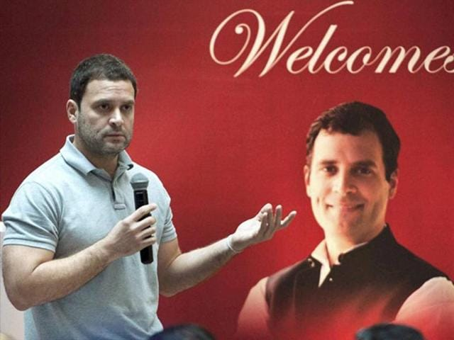 Congress vice-president Rahul Gandhi interacts with students at NMIMS in Mumbai.