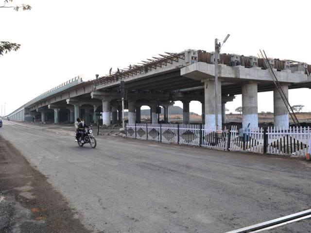 The unfinished section of Teen Imli square overbridge in Indore.
