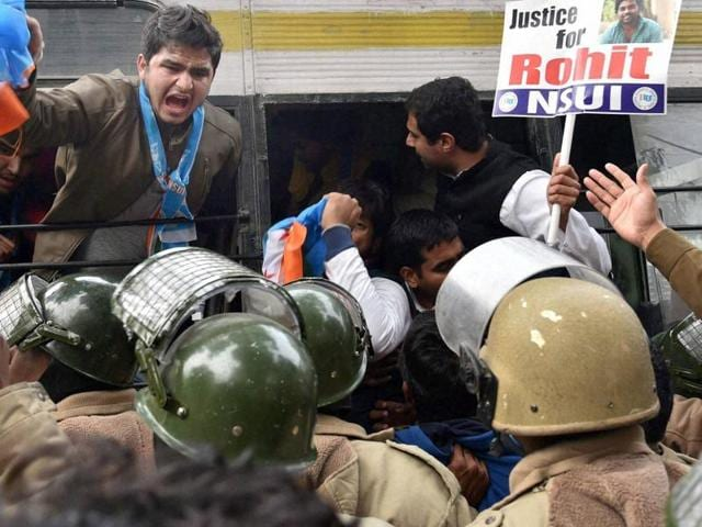 tudents staging a protest over the death of Rohith Vemula, a doctarate student at the Hyderabad Central University who was found hanging in a hostel room, in Mumbai on Tuesday.