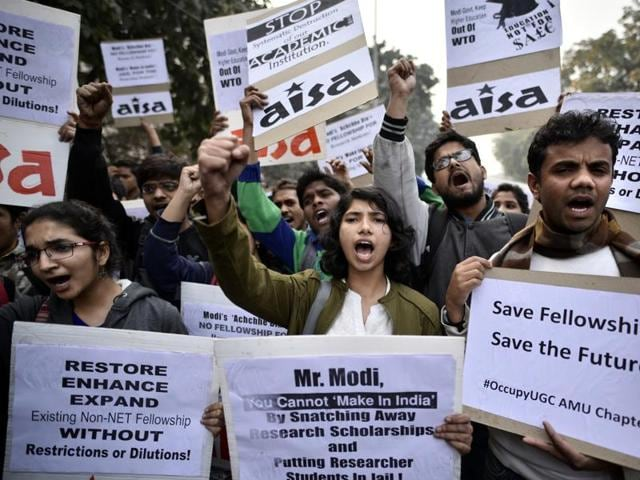 Students have been protesting since October 2015 against the discontinuation of the non-NET fellowship.