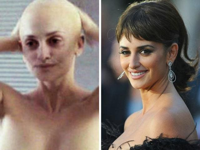 Penelope Cruz after and before shaving her head. the actress plays a cancer patient in her upcoming film, Ma Ma.