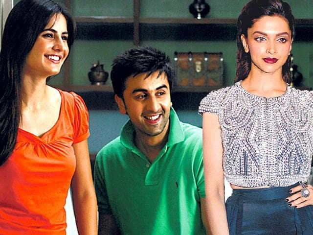 Ranbir Kapoor (centre) and his former girlfriend Deepika Padukone (right) spent a lot of time together while promoting their film Tamasha. Ranbir was dating Katrina Kaif at that time.